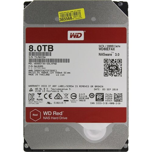 Жесткий диск Western Digital Red 8 Тб WD80EFAX SATA
